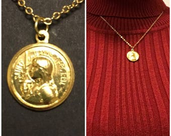 Saint Joan of Arc Vintage French Gold Medal- Catholic Jewelry - Saint Necklace