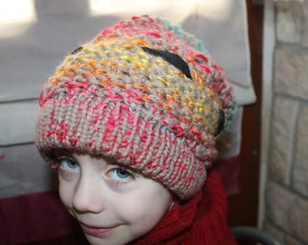 Hat knit knitting 2 in 1 multicolor