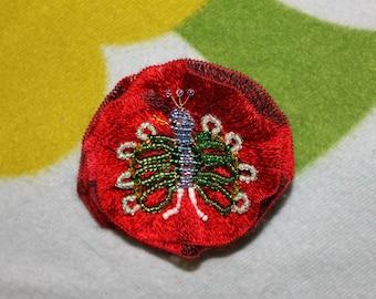 Peacock pearls decor red flower brooch