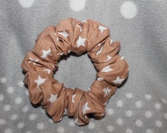 Small beige background fabric hair scrunchie-star