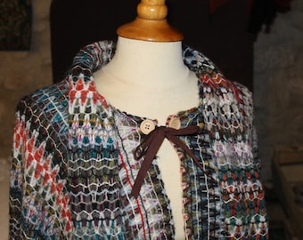 Poncho - shawl, made from multicolored zig zag fabric