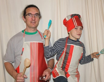 Red Pinstripe parent/child apron set