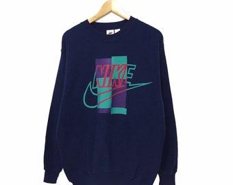 b87b5cd0b6 Vintage Nike Big Logo Embroidery Sweatshirt Jumper Pullover Nike USA Just  Do It Nike Air Nike Air Jordan Crewneck Sweater Hoodies