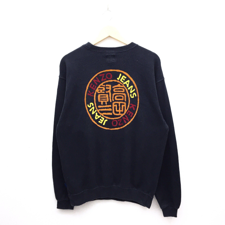 5d7f70369 RARE Vintage Kenzo Jeans Multicolor Spellout Sweatshirt
