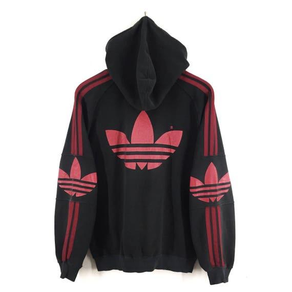 Hoodies Sweater Sweatshirt Embroidery Stripes Trefoil 90's Jumper Spell Big Vintage RARE Three Logo Adidas Pullover Out qxZ6wACB