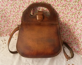 Leather handbag / vintage 60s bag / shoulder bag