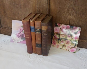 Lot of 4 old pounds / vintage leather binding books / old books 1920/1930