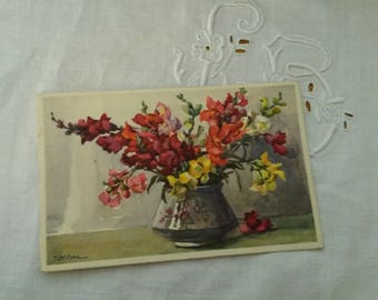 Old postcard / decor watercolor flowers / 1920s