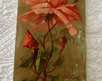 Print on wood / postcard pink (fuchia) / happy birthday