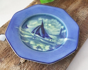 Empire Ware vintage plate | Midnight Sail, blue sailing plate
