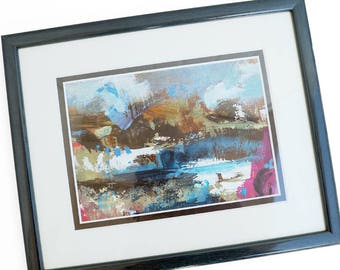 Vintage abstract oil painting on cardboard, thick impasto, framed in the Netherlands