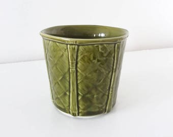 Small green planter by Churchill England | vintage basket texture plant pot for cactus, succulents