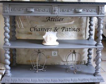 Console, Draper, serving Henry weathered gray and black tray