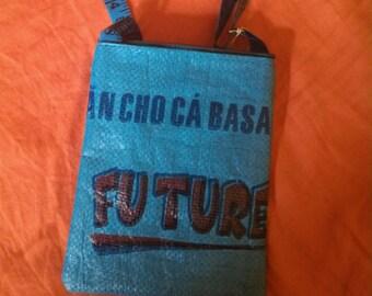 Recycled rice bag shoulder bag