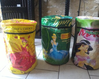 Princesses recycled rice bag - Made storage baskets in Burkina Faso