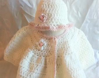 Baby Girl Sweater Set-Crocheted Baby Girl Sweater Set-Baby Girl Clothes-Crocheted White Sweater-Crocheted White Hat-Winter Baby Clothes