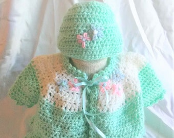 Crocheted Baby Sweater Set-Crocheted Baby Girl Sweater Set-Crocheted Baby Girl Clothes-Crocheted Baby Girl Hat-Crocheted Baby Hat
