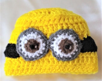 Minions Baby Hat-Minions Baby Girl Hat-Minions Baby Boy Hat-Crocheted Minions Baby Hat-Minions Baby Clothing-Yellow Baby Hat