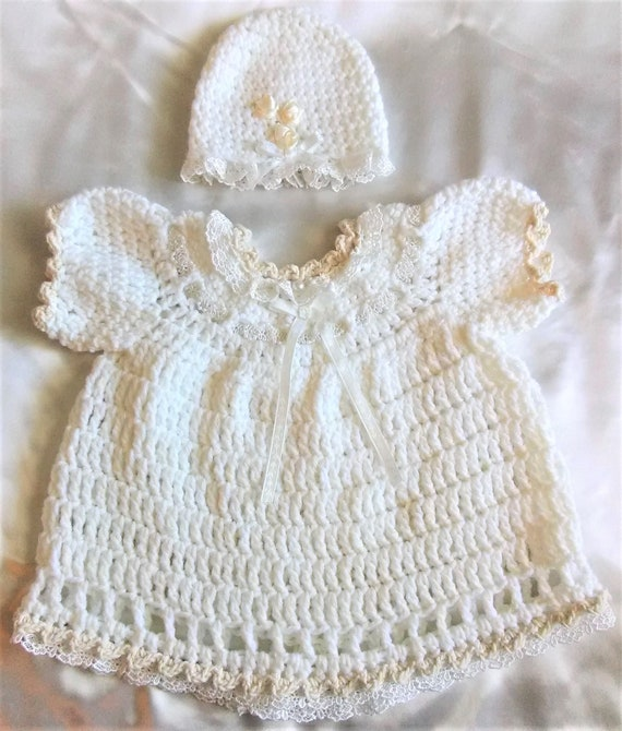 bd23f3ca786 Baby Crocheted Dress Set-Crochet Baby Dress Baby Girl