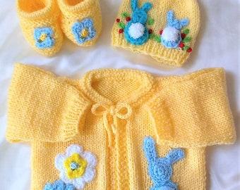 Knit Baby Layette Set-Knit Baby Bunny Layette Set-Knit Yellow Baby Layette Set-Knit Baby Boy Set-Knit Baby Girl Set-Yellow Baby Sweater Set