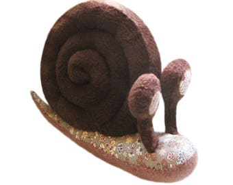 Stuffed snail with flowery eyes handmade child gift