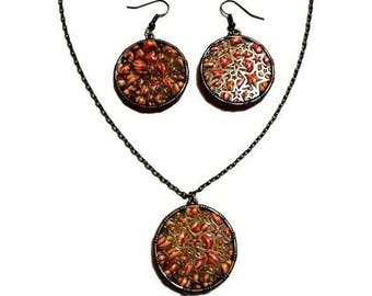 Necklace set - Earrings white yellow red circles and stars