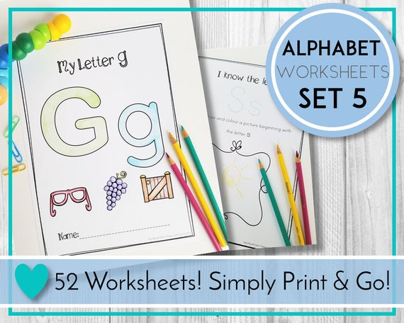 Alphabet Worksheets Colour And Draw ABC Printables Etsy