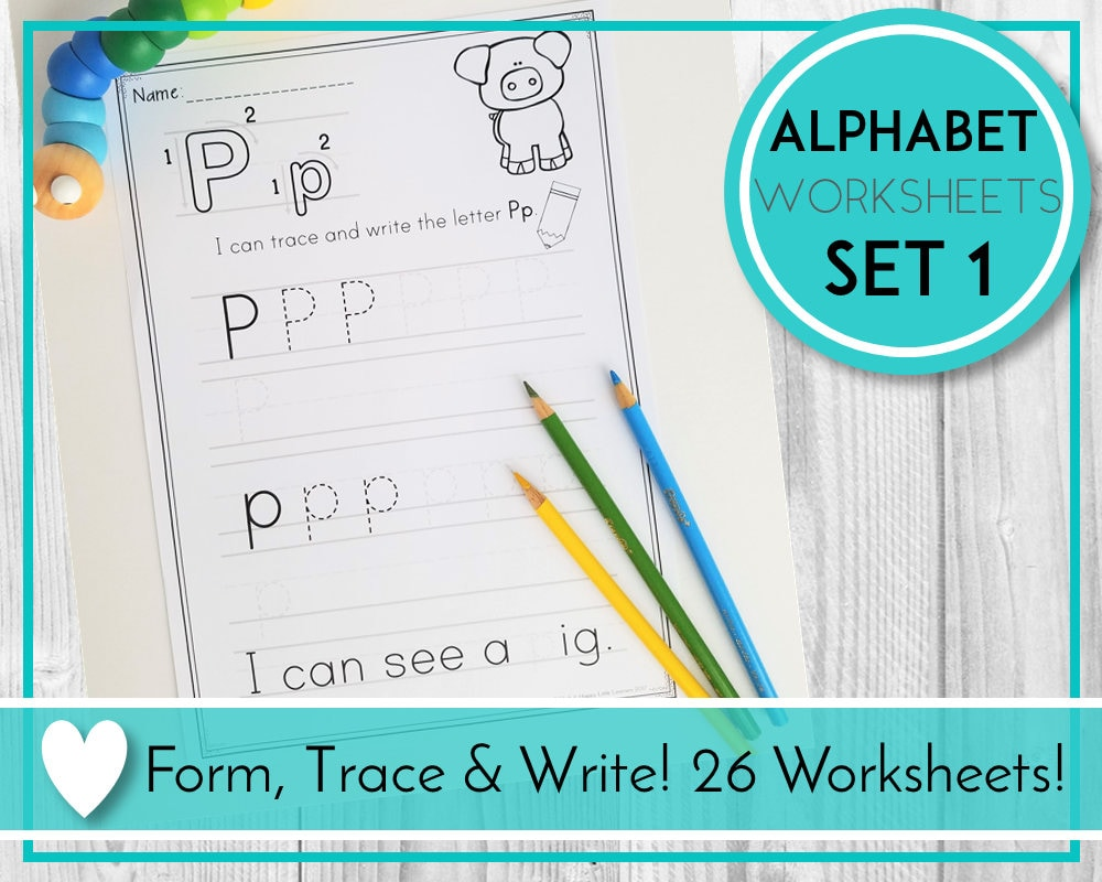 alphabet trace worksheets writing practice abc printables etsy. Black Bedroom Furniture Sets. Home Design Ideas