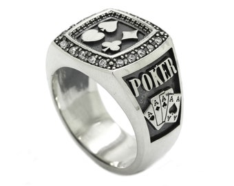 2bbf0069cb Poker Stars Сlubs Diamonds Spades Hearts Men's Ring Sterling Silver 925  with Black Enamel