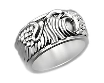 Eagle RING wrap Ring Stainless steel RING adjustable Ring Bird Ring Statement Ring