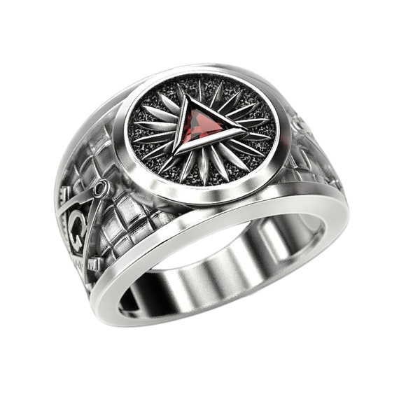 Freemasonry Silver Ring with Gems Details about  /Triangle Masonic Pyramid Eye of Providence