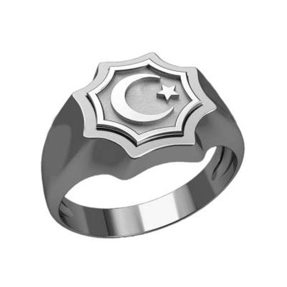 Islam Symbol Star And Crescent Moon Ring Sterling Silver 925 Etsy