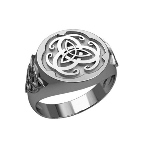 Triple Triangle Knot Irish Celtic Symbol Men Ring Sterling Etsy