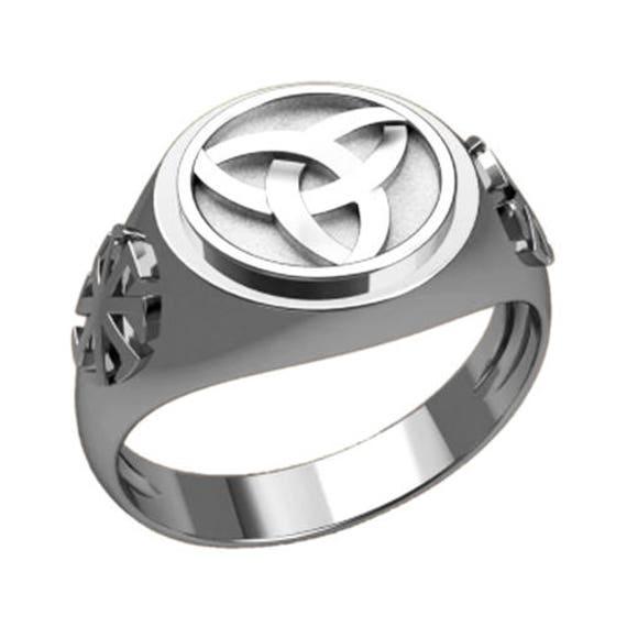 Triquetre Slavic Celtic Men Ring Sterling Silver Ring Triangle Signet