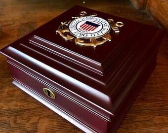 Coast Guard Medallion Keepsake Box With Engraved Naameplate