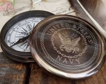 Engraved Navy Compass