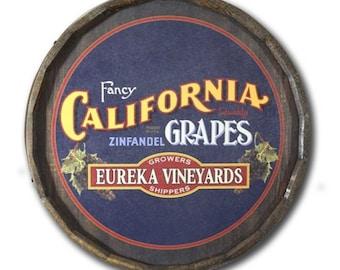 California Grapes Personalized Quarter Barrel Sign