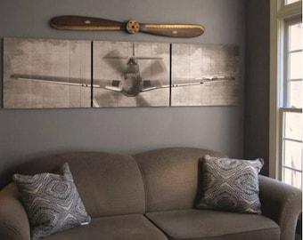 P-51 Mustang Wood Triptych Art- 90x24