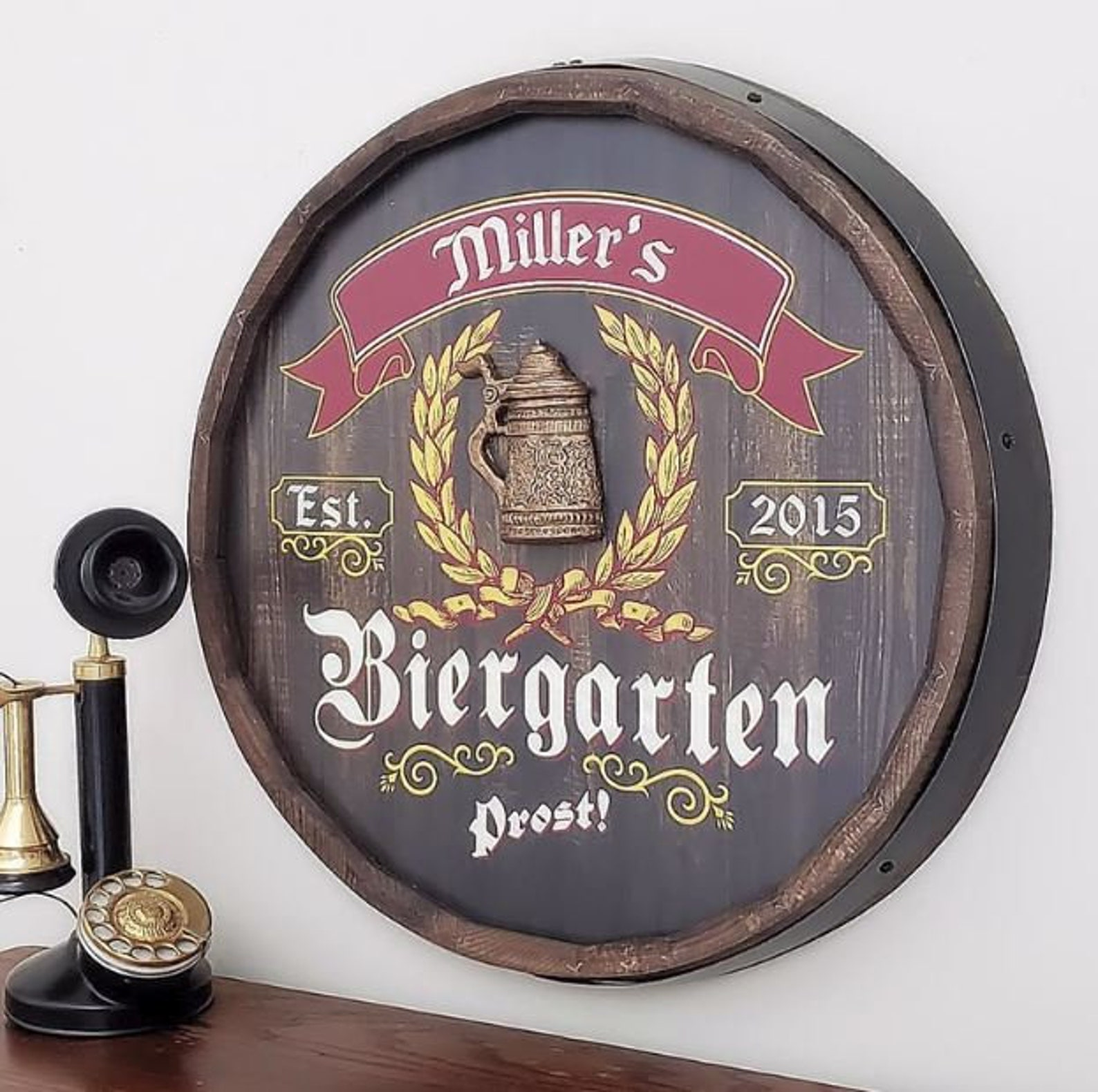 Biergarten Personalized Barrel End Bar Sign >>> Need it on or before Christmas Eve? Order by DECEMBER 12
