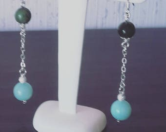 Earrings in 925 sterling silver and Amazonite and Jade beads