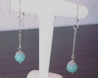 Earrings in 925 sterling silver and Amazonite beads