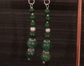 Earrings in 925 sterling silver and Jade beads