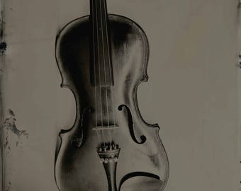 limited edition print wet plate violin photographic black and white Scottish wall art photography