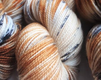 """Hand dyed """"Appaloosa"""" - Gorgeous Cream, Russett with Black Speckles - Perfect for Socks, Shawls, Sweaters and so much more!  A Must Have!"""