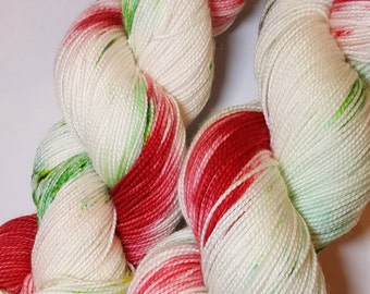 """Hand dyed Christmas Yarn - """"Christmas Candy"""" -, perfect for your Christmas projects! Socks, shawls, hats, cowls. mittens! Choice of weights."""