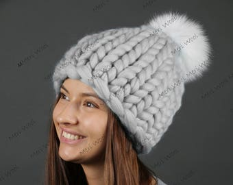 Big merino Hat, Шапка крупной вязки из шерсти мериноса