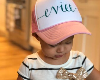 Youth Name Hat - Personalized Toddler Trucker Hats Adjustable Snapback for  Kids 8a5f6e5fc44