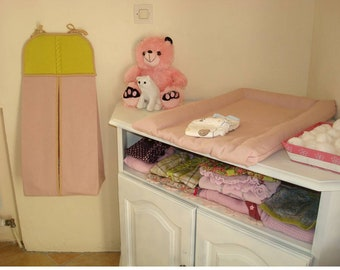 storage bag for diapers matching baby's room, handmaker with cotton and woolen cloth