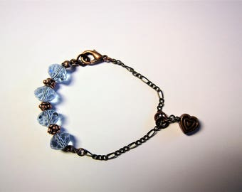 EXTRA SMALL bracelet violet/celestial crystals with chain and copper heart