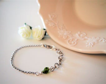 Transparent crystals and SMALL-chain bracelet with green stone/glass beads bright-gifts for him and her-